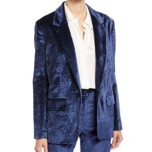 Rag & Bone Navy Blue Monty Velvet Blazer Jacket 10